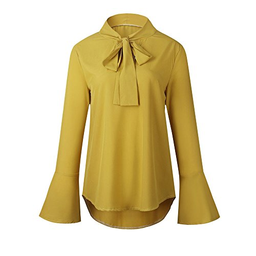 LEvifun Donna Maglietta Casuali Bagliore Manica Lunga delle Camicette della V-Collo del Rivestimento del Manicotto Camicia