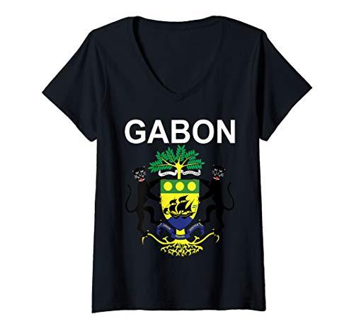 Womens Gabonese Pride National Emblem of Gabon V-Neck T-Shirt