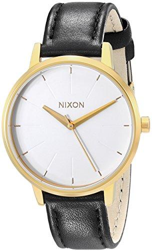 Nixon Kensington Leather Gold/White/Black Casual Designer Women's Watch (37mm. Gold & White Face/Black Leather Band)