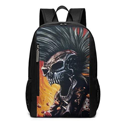 Punk Skull Biker Chopper Unique Outdoor Shoulders Bag Fabric Backpack Multipurpose Daypacks For Adult Kids