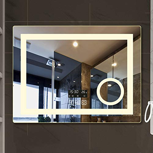 Wall-Mounted LED Bathroom Mirror with Bluetooth Speaker,Illuminated Magnifying Mirror Vanity Mirror with - Sensor Bathroom Illuminated Demister Led Mirrors