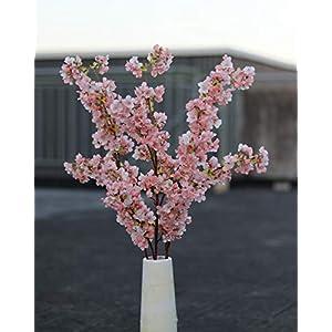 Ahvoler 5 Pcs Artificial Silk Cherry Blossom Branches Arrangement for Home Wedding Decoration Peach Flower Bouquet, 38 inch (Pink-5pcs) 5