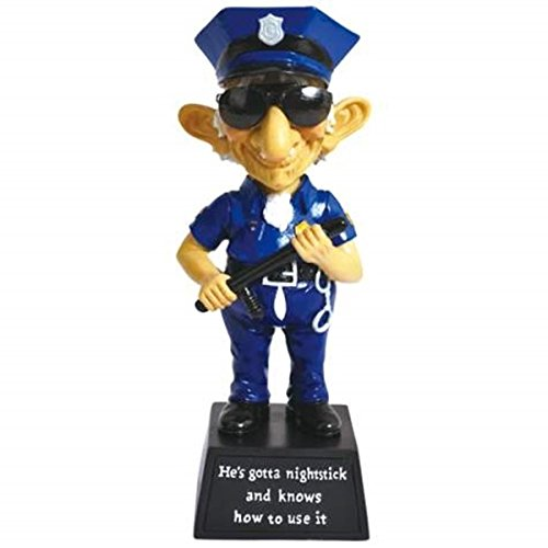WL SS-WL-12769 Old Police Officer With Night Stick Bobble Black & Blue Figurine, 6