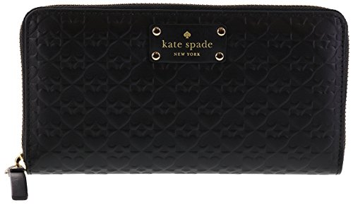 (Kate Spade New York Penn Place Embossed Neda Leather Continental Wallet (Black))