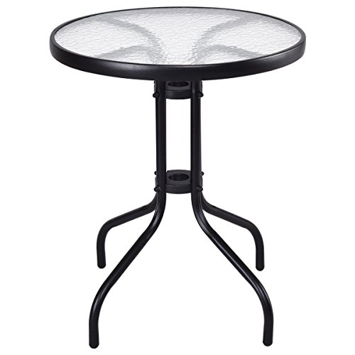 AyaMastro Patio Glass Top 24'' Steel Frame Round Table Tempered UV Resistant by AyaMastro