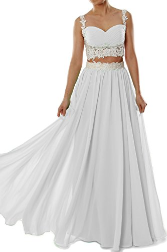 MACloth Women Two 2 Piece Lace Chiffon Long Prom Dress Formal Party Evening Gown Marfil