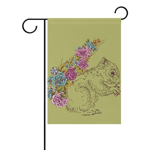 Flowers Proof Squirrel (Vantaso House Flag Decorative Abstract Cute Squirrel Flowers Polyester Double Sided Printing Fade Proof for Outdoor Courtyards 28x40 inch)