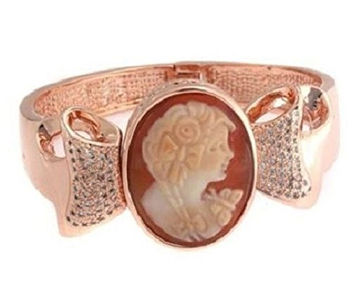 Amedeo Nyc Rose Fiocco 30mm Cornelian Cameo Bow Design Bangle Bracelet Fits 6