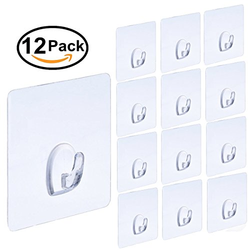 12 Pack Adhesive Hooks(13.2lb/6kg) Sticky Wall Hooks Transparent Plastic Reusable Heavy Duty Hook for Kitchen Bathroom Office No Trace No Scratch Waterproof and Oilproof