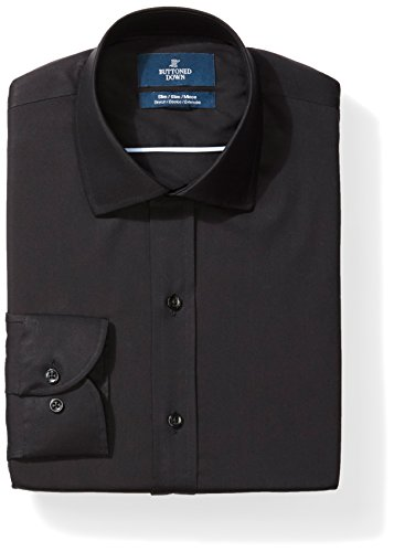 Straight Collar Dress Shirt - BUTTONED DOWN Men's Slim Fit Stretch Poplin Non-Iron Dress Shirt, Black, 17.5