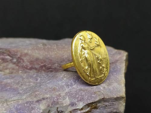 Roman Art Ancient Greek Woman with Pigeons Coin Signet Ring Silver Gold Coin Over