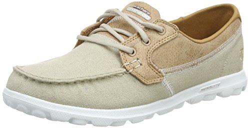 Skechers Women's Performance, On The Go Breezy Boat Shoe Natural 6 (Beige Deck Mat)