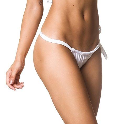 993af5c65f COQUETA Swimwear Carioca Tonga Brazilian Bikini Adjustable Bottom Sexy  White-SM