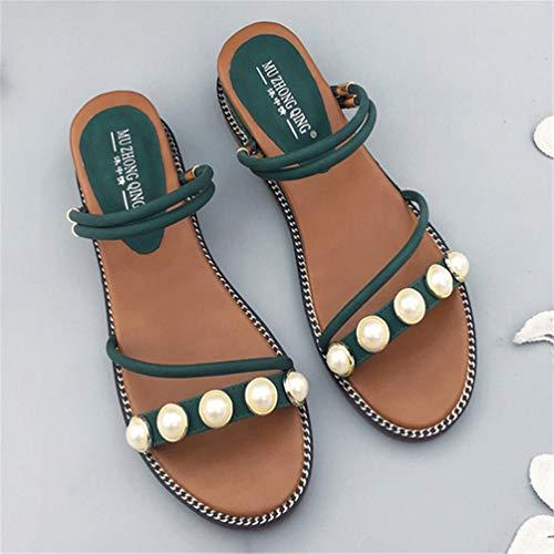 Sandales Lanières Compensés Confort de Mules Été Tongs Mode Plate Vert Femmes Perlé Plage Chaussures qYtEAwYvx