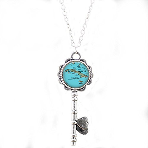 lukuhan Retro Cuba Vintage Map Jewelry - Optional Compass Charm - Caribbean Map Necklace -