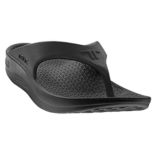 Telic Energy Flip Flop - Comfort Sandals for Men and Women, Midnight Black, Women's 13 / Men's - Fur 2 Inch Heel 1/2