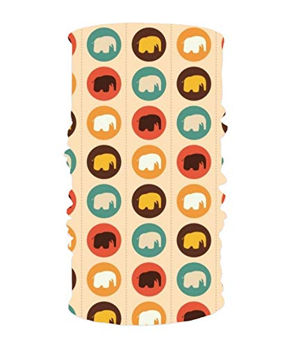 Colorful Background With Elephant Silhouettes Magic Scarf Works as Face Mask Neck Gaiter Headband Balaclava