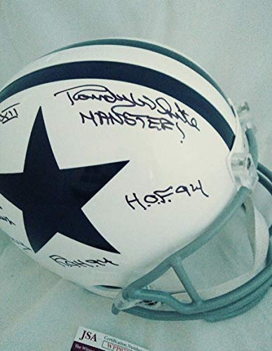 Randy White Autographed Signed Cowboys Stat Helmet Hof94 7 Inscriptions Throwback Helmet Memorabilia - JSA Authentic