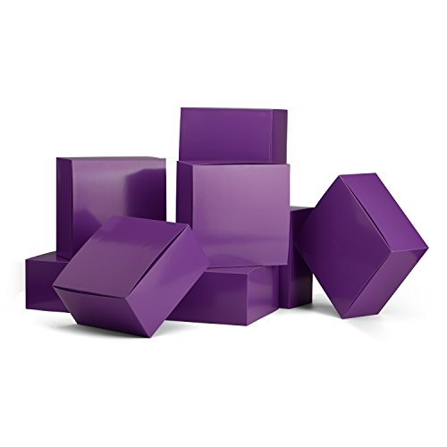 MESHA Gift Boxes 10 Pack 8 x 8 x 4 Inches, Purple Paper Gift Boxes with Lids for Gifts, Crafting, Cupcake Boxes by MESHA
