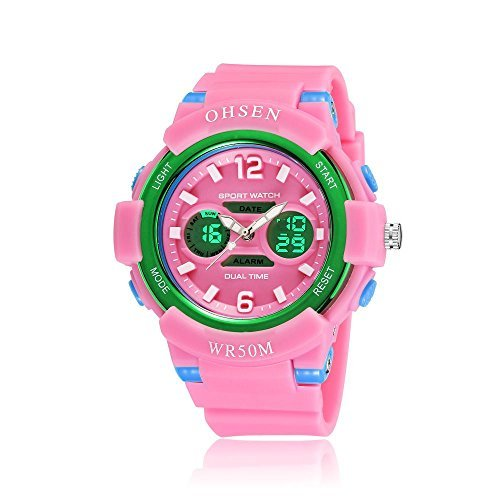 OHSEN Young Mens Boys Analog Digital Quartz Wrist Watches Dual Time Alarm Chronograph in Pink
