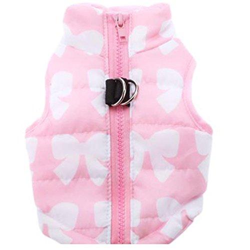 YiJee Lindo Mascota Ropa Perro Acolchado Chaqueta Chaleco Pink XS