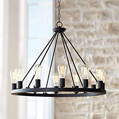 """Lacey Round Chandelier LED Edison Bulb Classic Black 28"""" Wide Fixture for Dining Room - Franklin Iron Works"""
