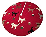 54'' Handmade Felt Applique Dog Pet Christmas Tree Skirt Red Background
