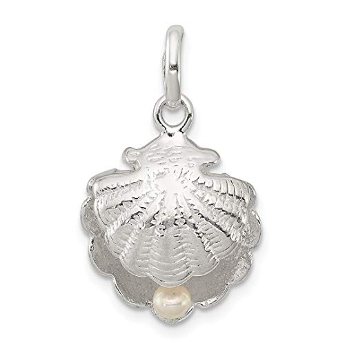 925 Sterling Silver Sea Shell Mermaid Nautical Jewelry Simulated Pearl Pendant Charm Necklace Shore Fine Jewelry Gifts For Women For -