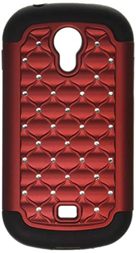 MYBAT Luxurious Lattice Dazzling Total Defense Protector Cover for Samsung T399 Galaxy Light - Retail Packaging - Red/Black ()