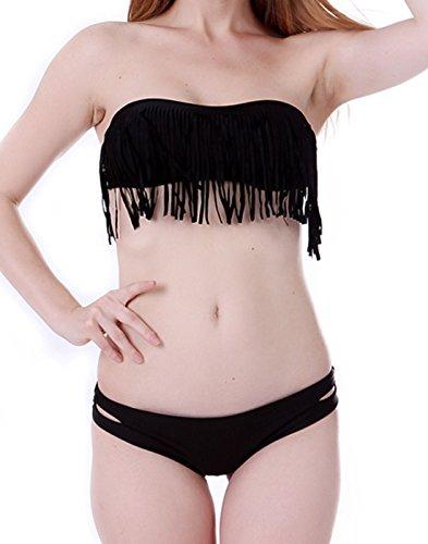 HDE Sexy Padded Boho Fringe Bandeau Strapless Two Piece Tassel Bikini Swimsuit Set (Black, Small)