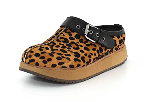 Earth Women's Lyra Brown Multi/Leopard Print Fur 7.5 B US