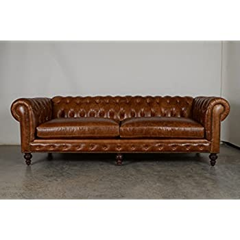 Amazon Com Cococo Chesterfield Leather Sofa Kitchen Amp Dining