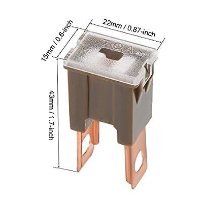 uxcell Automotive Cartridge Fuse 32V 70A Male Terminal Blade J Case Box for Car Truck Vehicle 4pcs: Automotive