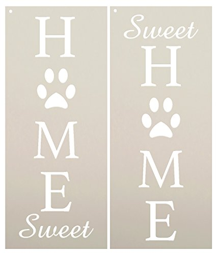 - Home Sweet Home - Dog Paw Prints Stencil by StudioR12 | Reusable Mylar Template | Use to Paint Wood Signs - Porch Sign - Welcome - Animal - Select Size (12