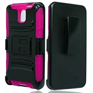 Black Pink Rhino Holster Combo Hybrid Gel Case for Samsung Galaxy Note 3 + Keychain Tool