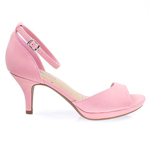 Heel Padding Thick Toe Platform amp; Comfortable Nubuck Pump On Dress Foam Open Mid Pink aWzFUgcF