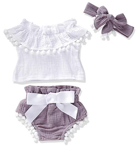 (Newborn Baby Girls Clothes Floral Sleeve Romper+ Floral Short Pant 3pcs Summer Outfit 12-18 Months)