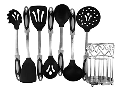 Wee's Beyond 8-Piece Silicone Utensil Combo Set With Holder (Black)