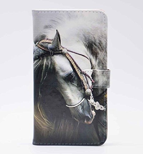 iphone 5 5S Case Handsome Side View of a White Horse Pattern Leather Wallet Credit Card Holder Pouch Flip Stand Case Cover For Apple iphone 5 5S ,IPHONE SE New