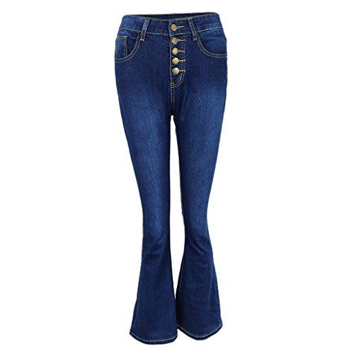 Large Push au fonc en Fonc Confortable bleu Clair Haute Sharplace Up Evase Jambe Bleu S Bleu Denim Bootcut Pantalons Casual Taille Femme XXL gHABIq7