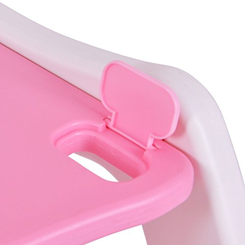 Costzon 3 in 1 Infant High Chair Convertible Play Table Seat Booster with Feeding Tray (Pink) by Costzon (Image #8)