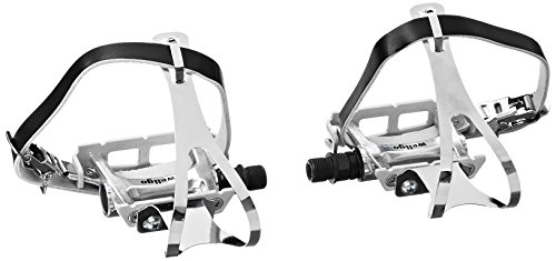 Wellgo Track Fixie Bike Pedal with Toe Clips and Leather Strap, Silver (Best Toe Clips For Fixed Gear)