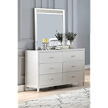 Esofastore Modern Classic Beautiful Traditional Look Silver 4pc Set Bedroom Furniture Full Size Bed Dresser Mirror Nightstand Faux Leather Tufted HB
