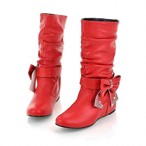 Stivali Zj Rosso Degli 36 Women 's Altezza Ginocchio Aumentata Scarpe Alti Flat stivali Corso autunno Nel E 47 Tratto In Inverno S8qS01r