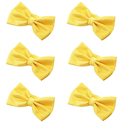 Yellow Silk Bow Tie - Men's Bow Tie for Wedding Party - 6 Pack of Solid Color Adjustable Pre Tied Bowties(Gold Yellow Plaid)