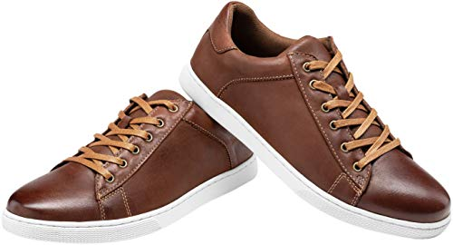 Pictures of JOUSEN Men's Leather Fashion Sneakers Business Classic Leather Fashion Sneaker 2