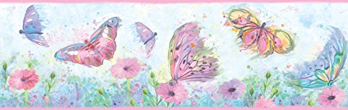 (Chesapeake HAS01002B Ava Pink Butterfly Swoosh Wallpaper Border)