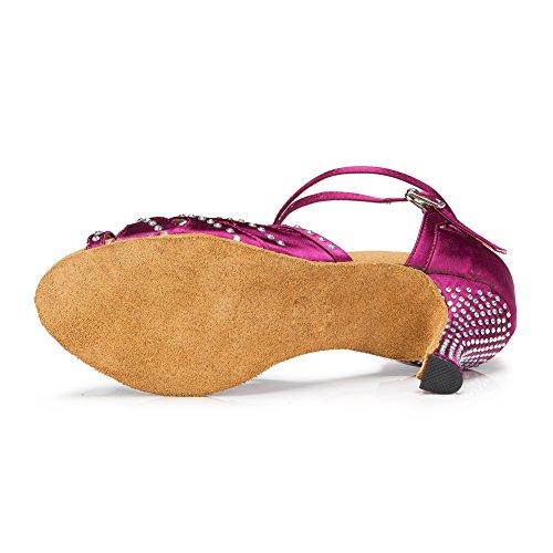 Misu Kvinna Peep Toe Sandaler Latin Salsa Tango Praktiken Balsal Dansskor Med 2,7 Klack Röd