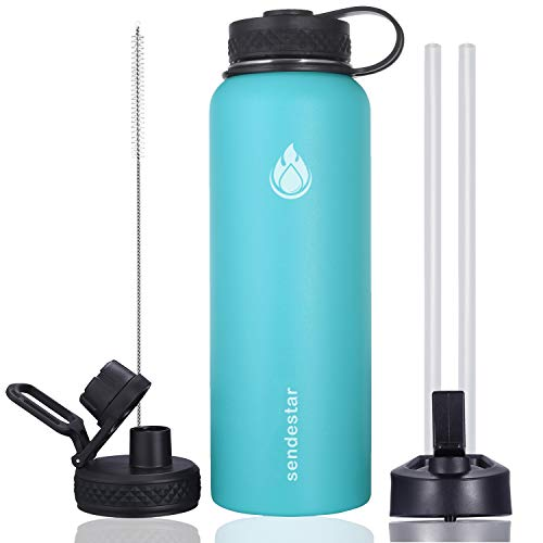 Sendestar 40 oz Double Wall Vacuum Insulated Leak Proof Stainless Steel Sports Water Bottle-Wide Mouth with Straw Lid & Flex Cap & Spout Lid (Sky Blue)