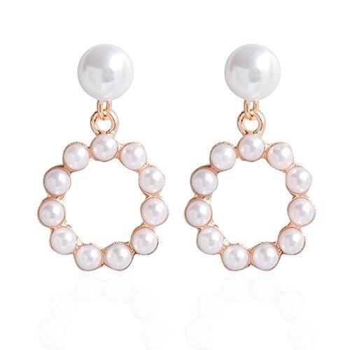 Geometric Pearl Earring Pearl Surrounded Big Drop Dangle Earring Triangle Circle Pendant Alloy Stud Earrings Women Earring Jewelry Sleek Elegant (round) ()